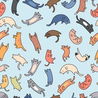 Bezszwowe Wzór Zbiory Kotów Premium Wektorów