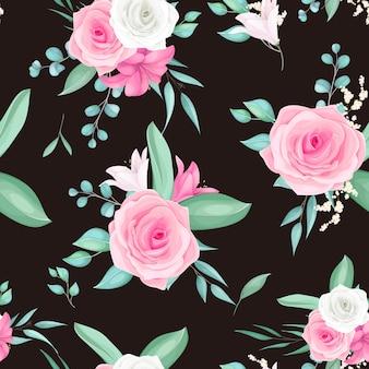Bezszwowe wzornictwo z pięknym kwiatem róży i lilii