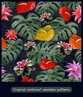 Bezszwowe wzory anturium tropikalnych lasów deszczowych