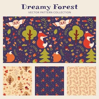 Bezszwowe wzory dla dzieci z ręcznie rysowane leśne zwierzęta, kwiaty i rośliny