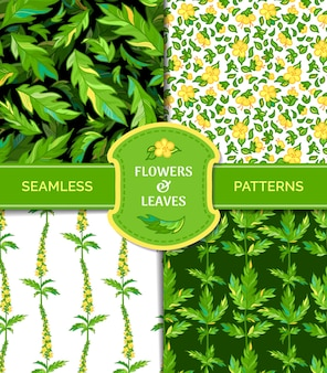 Bezszwowe wzory drobnych żółtych kwiatów i zielonych pierzastych liści
