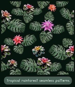 Bezszwowe wzory liści i kwiatów tropikalnych lasów deszczowych.