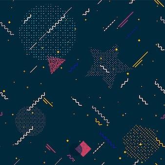 Bezszwowe wzory memphis. moda lat 80-90. tekstury kolorów. dla twojego projektu