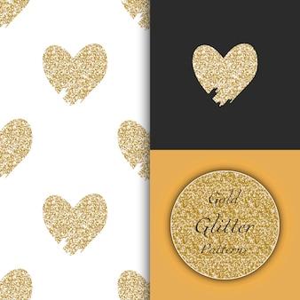 Bezszwowe wzory z doodle ręcznie rysowane złote serca