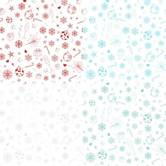 Bezszwowe wzory z płatkami śniegu i symbolami świątecznymi