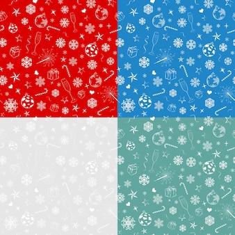 Bezszwowe wzory z symboli świątecznych