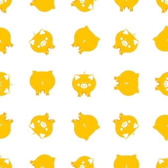 Bezszwowe wzory z uroczymi żółtymi świniami na chiński nowy rok 2019.