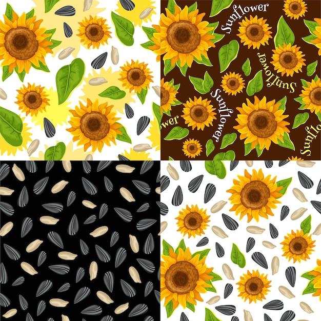 Bezszwowe wzory ze słonecznikami