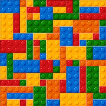 Bezszwowe z realistycznych kolorowych klocków z tworzywa sztucznego. bloki konstrukcyjne.