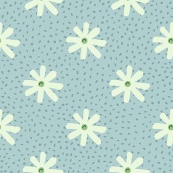 Bezszwowe ziołowy wzór z geometrycznymi kształtami rumianku.