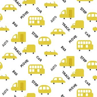 Bezszwowe żółte samochody wzór na białym tle ilustracji wektorowych