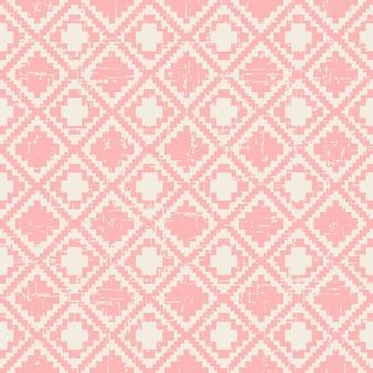 Bezszwowe zużyte rocznika różowy piksel wzór diamentu