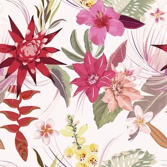 Bezszwowe zwrotnik kwiatowy jesień wektor wzór. eleganckie suche liście palmowe, akwarela tropikalne kwiaty boho. luksusowy projekt ilustracji dla tekstyliów modowych, tekstury, tkaniny, tapety, okładki, tła