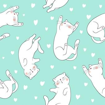 Bezszwowego deseniowego tła śliczny kot z małym sercem na zieleni
