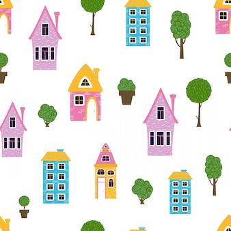 Bezszwowi deseniowi kreskówka domy