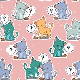 Bezszwowi deseniowi mali koty bawić się dziecko mysi.