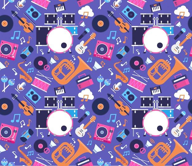 Bezszwowi deseniowi muzyczni instrumenty i wyposażenie elektronika ikony płaska wektorowa ilustracja
