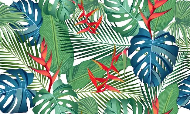 Bezszwowi deseniowi tropikalni liście z kwiatem