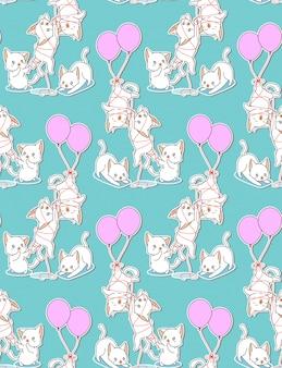 Bezszwowi dziecko koty z balonu wzorem.