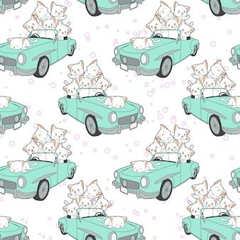 Bezszwowi rysujący kawaii koty w zielonym samochodu wzorze.