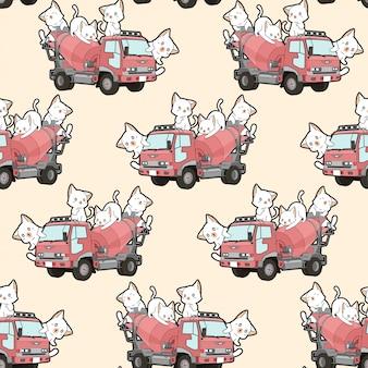 Bezszwowi śliczni koty na cementowym mieszalniku deseniują ciężarówkę