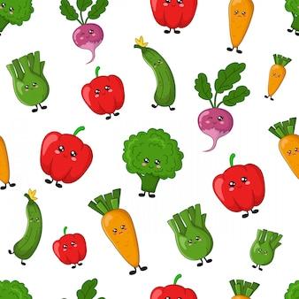 Bezszwowi wektoru wzoru kawaii kreskówki jedzenia warzywa
