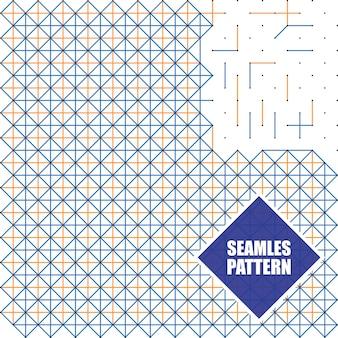Bezszwowi wzory z kropkami, kwadratami i liniami, wektorowa ilustracja