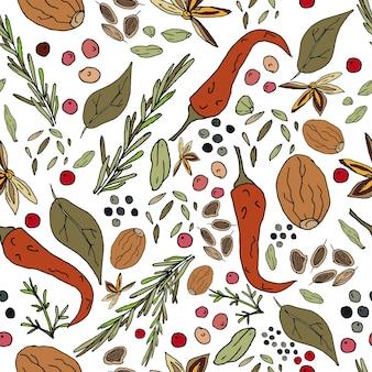 Bezszwowy abstrakcyjny wzór przypraw nadruk na tkaninie i innych powierzchniach papryka chili
