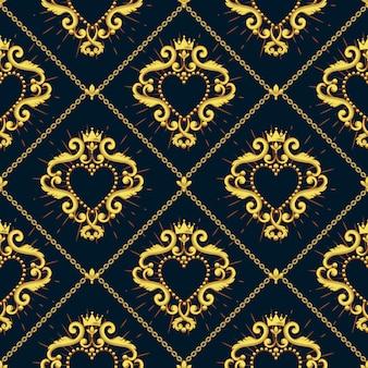 Bezszwowy adamaszka wzór z pięknym ornamentacyjnym sercem