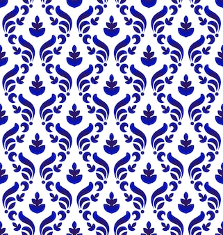 Bezszwowy błękitny i biały królewski adamaszka wzór
