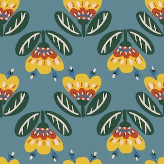 Bezszwowy botaniczny kwiatowy wzór elementów w ludowym stylu etnicznym