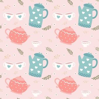 Bezszwowy deseniowy czajniczek i filiżanka