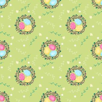 Bezszwowy deseniowy jajko w gniazdeczku i kwiacie