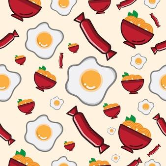 Bezszwowy deseniowy kluski i jajko