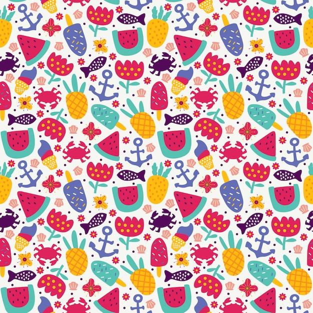 Bezszwowy deseniowy lato z ananasowym owocowym lody kraba kotwicy ryba arbuzem i kwiatem doodle styl