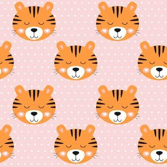 Bezszwowy deseniowy pepiniera śliczny tygrys i kropki na różowym tle.