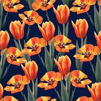 Bezszwowy deseniowy pomarańczowy kolor tulipanów kwiatów tło.