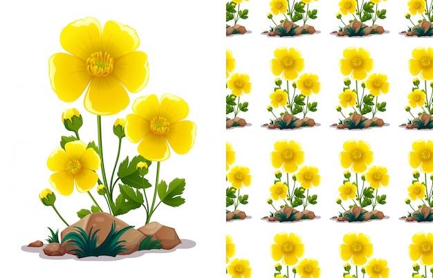 Bezszwowy deseniowy projekt z żółtymi kwiatami i zielonymi liśćmi