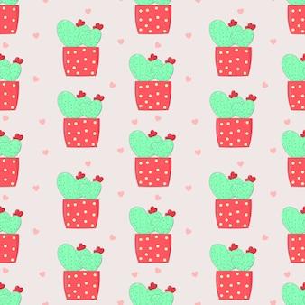 Bezszwowy deseniowy słodki kaktus w miłości w różowym garnku