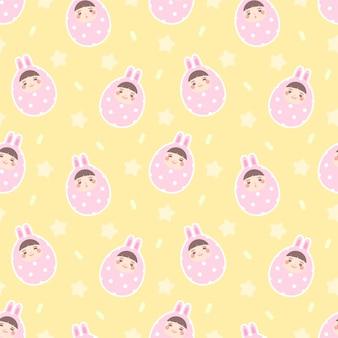Bezszwowy deseniowy szczęśliwy twarzy easter jajko