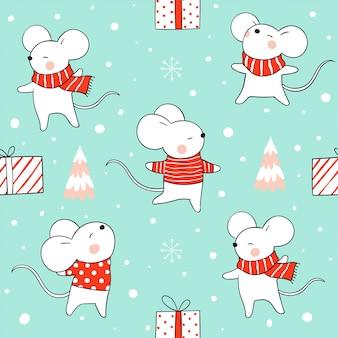 Bezszwowy deseniowy szczur w śniegu dla bożych narodzeń i nowego roku na zieleni.