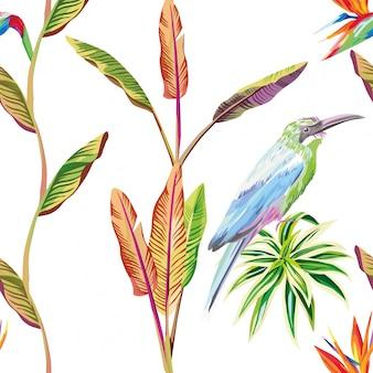Bezszwowy deseniowy tapetowy skład tropikalni liście kwitnie i ptak
