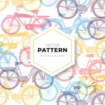 Bezszwowy deseniowy tło z rowerami w pastelowych kolorach