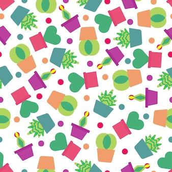 Bezszwowy deseniowy tło z ślicznym kaktusem.