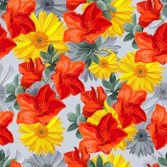 Bezszwowy deseniowy tropikalny kwiat