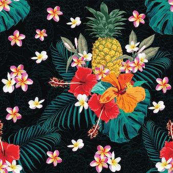 Bezszwowy deseniowy tropikalny lato z frangipani