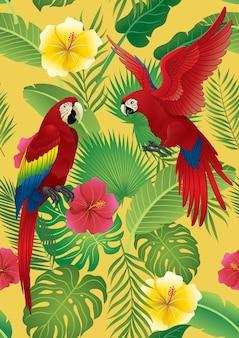 Bezszwowy deseniowy tropikalny projekt i czerwony ara ptak