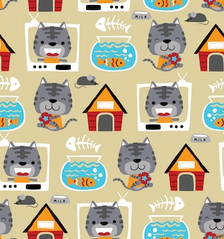 Bezszwowy deseniowy wektor śmieszna kot kreskówka z swój zabawkami