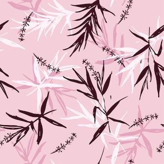 Bezszwowy deseniowy wektor szczotkarscy bambusowi liście