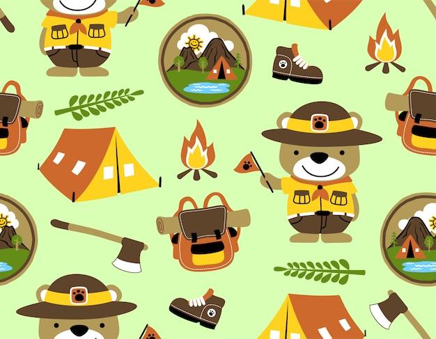 Bezszwowy deseniowy wektor z śmiesznym harcerzem, campingowi wyposażenie